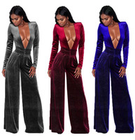 3XL 3 farben Samt breitbeinig Casual Herbst Winter Dame Mode sexy outfit Verband frauen sexy Overalls Strampler
