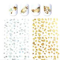 кленовый лист стикер оптовых-DIY Handcrafts 3D Nail Stickers Holographic Coconut Tree Maple/Turtle Leaf Design Nail Art Manicure Decals Manicure Supplies