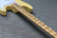 guitarra yngwie al por mayor-CALIENTE ! guitarra eléctrica crema Yngwie Malmsteen Diapasón de arce festoneado Big Head 6 cuerdas guitarra eléctrica en stock