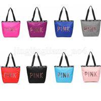 Wholesale kids waterproof bags - Sequins PINK Letter Handbags 8 Colors Portable Love Pink Shoulder Bag Waterproof Shopping Bag Secret Travel Duffle Kids Handbag OOA5199