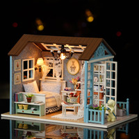 Wholesale models wooden houses for sale - Group buy Cute Room DIY Cottage Box Theatre Manual Wooden Assembling Funny Model House Doll House Holiday Time Creative Gift rh W