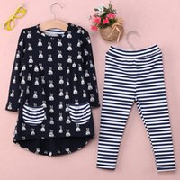 Wholesale Bulk Shirts - 2pcs hot summer bulk fashion Kids Baby Girls Toddler Bunny Shirt Dress+Stripe Pants Set Clothes Outfits 1-6Y