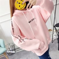 Women Pink Hoodies Thick Japanese Mori Girl Preppy style sweatshirt 2017 New Hooded Cute Fleece warm Winter Women Pullovers