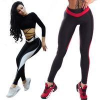 leggings negros blancos rojos al por mayor-Patchwork Negro Pantalones Blancos 2018 Leggings leggings de fitness Para Mujeres Sporting Entrenamiento Leggins Elástico Slim Red White Pants