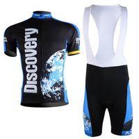 Wholesale green lycra pants - 2018 Quick Dry Team Discovery Cycling Short sleeve Jerseys bicycle Clothing Bike shirts +bib Pants set Sportswear Ropa Ciclismo E1902