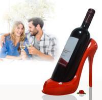 Wholesale wine ornaments wholesale - 5 Colors Wine Rack High Heel Shoe Bottle Holder Storage Wedding Party Decor Ornament EEA337 30PCS