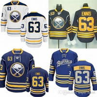Wholesale Buffalo Logos - Hot Sale Mens Buffalo Sabres 63 Tyler Ennis White Blue Navy Best Quality Cheap Full Embroidery Logos Ice Hockey Jerseys Accept Mix Order