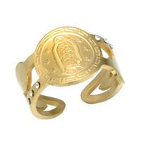 mary ring al por mayor-En forma de corazón, religiosa, bendecida Virgen María, anillo de sello, católica Virgen María, acero inoxidable, hueco grabado, anillo de encantos