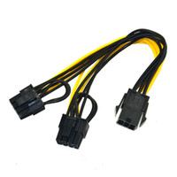 Wholesale Gpu Wholesale - 6 inch Molex 6-pin PCI Express to 2 x PCIe 8 (6+2) pin Motherboard Graphics Video Card PCI-e GPU VGA Splitter Hub Power Cable OTH812