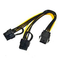 pci express vga оптовых-6-дюймовый Molex 6-контактный PCI Express до 2 x PCIe 8 (6+2) pin материнская плата Видеокарта Видеокарта PCI-e GPU VGA Splitter концентратор кабель питания OTH812