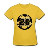 futebol de caráter venda por atacado-2018 marca designer de futebol numbe 26 tripulação de verão letras de caracteres Personagem Pessoal Personalizado Casual Confortável T-Shirt Das Mulheres
