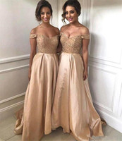 Wholesale dress stone color resale online - Elegant Off The Shoulder A Line Bridesmaid Dresses Beaded Stones Top Ruched High Low Party Gowns Wedding Guest Maid Of Honor Dress