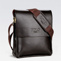 Wholesale mens leather messenger - Mens Briefcase Business Bags Casual Business PU Leather Mens Messenger Bag Vintage Men's Crossbody Bag Bolsas Black Brown Shoulder Bags