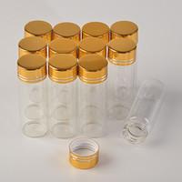 Wholesale mini aluminium container for sale - Group buy 14ml Mini Glass Bottles Aluminium Screw Golden Cap Transparent Clear Liquid Gift Container Wishing Bottle Wedding Jars