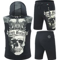 Wholesale Skull Knit Cardigan - 2018 Men's short Tracksuits Waistcoat breeches skull Blood brother 3D Printed Deutschland Brand Luxury Summer Suits With Bright diamond Slim