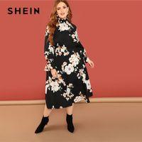 ingrosso supporto fiore nero-SHEIN Bohemian Flower Print Ruffle Sleeve e Stand Collar Black Floral Dress Plus Size Donna Boho A-Line abiti lunghi