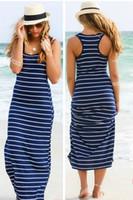 gerisiz çizgili maxi elbise toptan satış-2019 Nedensel Çizgili Maxi Elbise Kızlar Plaj Yaz Kırpma Üst Yelek Elbiseler Resmi Backless Etek Akşam Seksi Kadınlar Uzun Maxi Akşam Giyim