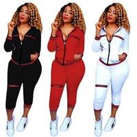 leggings pretos zíperes venda por atacado-Designer de Carta Preta Mulheres Ternos Esportivos Calças Camisolas de Manga Longa Zipper Define Impressão Lantejoulas Tops Camisas Calças Leggings Secret Ginásio