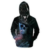 черепа с капюшоном оптовых-3D digital printed poker skull zipper sweatshirt, horror skull leisure  men's and women's hip hop pullovers hoodies