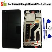 инструменты nexus lcd оптовых-Для Huawei Google Nexus 6P ЖК-дисплей с сенсорным экраном дигитайзер в сборе с рамкой запасных частей черный + инструмент 2560x1440