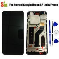 herramientas nexus lcd al por mayor-Para Huawei Google Nexus 6P Pantalla LCD Ensamblaje de digitalizador de pantalla táctil con piezas de repuesto de marco Negro + herramienta 2560x1440