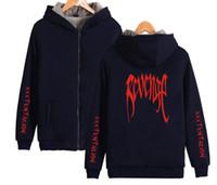 Wholesale men s cardigan long sweater resale online - Fleece Thick Zipper Cardigan Sweater XXX REVENGE Letters Design Hooded Sweatshirt Lovers Rapper Fashion Hoodie Coat Tops