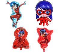 suministros para globos al por mayor-Hot Ladybug Foil Globos Inflables Juguetes Linda Ladybug Girl Globo Fiesta de Cumpleaños Decoraciones Kids Party Supplies