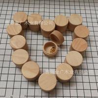 ingrosso scatole rotonde-Anello in legno massello rotondo in legno massello Contenitore per gioielli in oro giallo con pendenti per orecchini pendenti Accessori per matrimoni 5 8jg WW