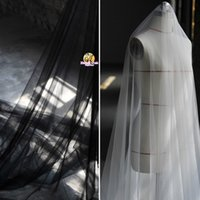 Wholesale black transparent wedding dress - 320CM width super Transparent gauze high fashion cloth mesh fabric wedding dress veil tulle fabric SR08