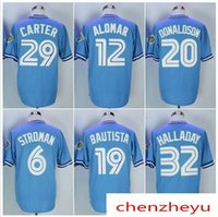 Wholesale Jose Bautista - Men's Toronto 20 Josh Donaldson 12 Roberto Alomar 19 Jose Bautista 32 Roy Halladay 29 Joe Carter 6 Marcus Stroman Baseball jerseys.