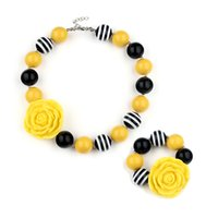 Wholesale bubble bead necklaces - Europe and the United States hot bubble beads necklace set yellow flowers children short beaded necklace