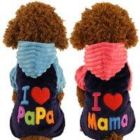 warme kostüme großhandel-New Love Mama Papa Kleidung Dlyamalenkih Hunde-Rosa-Blau-Winter-warme Haustiere Katzen Kostüme Produkte für Yorkie Terrier Dackel