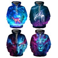 Wholesale galaxy costume - Animal Galaxy Lion Wolf Hooded Sweater Unisex 3D Digital Print Sweater Pocket Hooded Sweatshirt Big Pockets Hoodie Sweatshirt