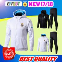 Wholesale black jacket hoodie - 2018 real madrid hoodie black white jacket with caps 2017 2018 tracksuit Soccer Jersey 17 18 training suit