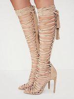 back zipper boot 2018 - 2018 back zipper zapatos mujer gladiator women sandals Tassel crossed-tied high heels shoes woman Summer knee high sandal boots