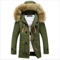 ingrosso giacche di lana nere-Long Casual Hooded Parka spessa Winter Man Wool Slim tasche massime Parka Black Green Designer Giacche Cappotti Mens