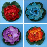 Wholesale floating water lotus resale online - 10cm Artificial Lotus Leaf Manual PU Bud Type Fake Pond Flowers Floating Water Design For Garden Wedding Party Decorations New zx ZZ