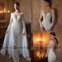 Wholesale Cape Skirts - Berta 2018 Sexy Mermaid Wedding Dresses with Capes Sleeve Detachable Chiffon Cape V-neck Long Sleeve Sheer Back Lace Bridal Gowns