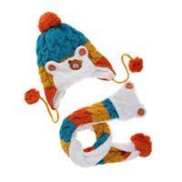 Wholesale cartoon earflap baby hat resale online - Baby Winter Hat Baby Boys Girls Cartoon Knit Earflap Hat Newborn Striped Woolen Hats Infant Warm Beanies Caps Scarf Twinset