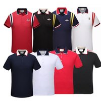 Wholesale mens black polos - Wholesale 2018 New Luxury Brand Embroidery t shirts For men Italy Fashion polos High Street Snake Little Bee Tiger Print Mens Polo shirt