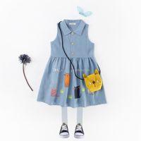 Wholesale Korean Style Shirt New Kids - New Cowboy Dresses Girls Shirts Collars Princess Skirts Kid's Sleeveless Cartoons Print Summer Kids Korean Edition k001