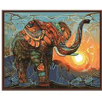 filler boyama tuvali toptan satış-Çerçevesiz Vintage Boyama Fil Sayılar Kitleri Tarafından DIY Boyama Tuval Üzerine Akrilik Boya Ev Duvar Sanatı Resim Yapıt 40x50 cm