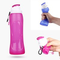 Wholesale Pink Kettles - Silicone Outdoor Folding Bottles Creative kettle With Key buckle 600ml Telescopic Collapsible Portable Drinkware Hiking Bottles With Box