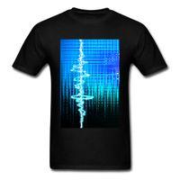современные футболки оптовых-Звуковая волна Blue Black T-Shirt Мужчины Современный дизайн Летняя футболка Мягкая хлопчатобумажная ткань Музыка Lover Hip Hop Striped Tops