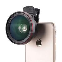 lentes de camara celulares al por mayor-Lente de cámara HD Lente 2 en 1 Profesional 0.6X Lente súper gran angular Lente macro 15X Teléfono celular universal con clip Len para iPhone Samsung