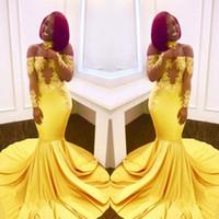 vestido de fiesta de corte amarillo al por mayor-Sexy African Yellow Mermaid Prom Dresses 2018 Off The Hombro Cut Out apliques de encaje Long Evening Party Gowns Vestidos semi formales Venta EE. UU.