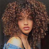 sexy bob perücke großhandel-Mode Brown Afro verworrene lockige Perücken Sexy BOB Haar synthetische kurze Perücke für schwarze Frauen Y Nachfrage