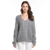 jerseys gruesos de gran tamaño al por mayor-Suéter de otoño invierno de la señora para las mujeres suéteres y jerseys V cuello grueso suéter de punto flojo caliente de gran tamaño