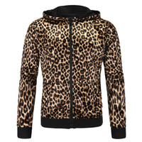 Wholesale new sexy zipper top - New High Quality Sexy Men Women Clothing Leopard Hoodies Spring Autumn Tops Male Female Fashionable Sweatshirts