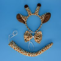 Wholesale Giraffe Ears Headbands - Giraffe Ears Animal Zoo Farm Headband Band Bow Tie Tail Set Costumes New